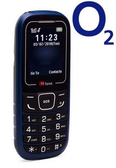 TTfone TT110 Mobile Phone with SOS Blue O2 (Bundle) Pay As You Go