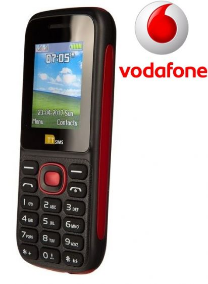 TTsims TT120 Dual SIM Mobile Phone Red Vodafone Pay As You Go