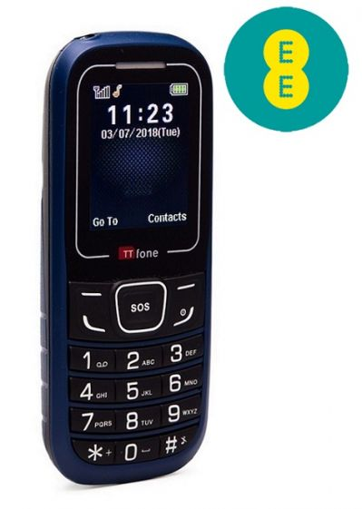 TTfone TT110 Mobile Phone with SOS Blue EE Pay As You Go