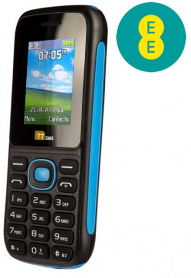 TTsims TT120 Dual SIM Mobile Phone Blue EE Pay As You Go