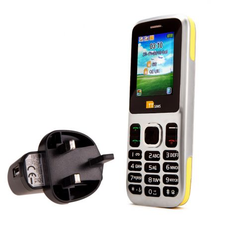 TTsims TT130 Dual SIM Mobile Phone Yellow with Mains Plug Charger