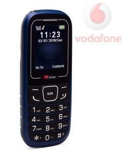 TTfone TT110 Mobile Phone with SOS Blue Vodafone Pay As You Go