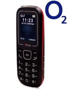 TTfone TT110 Mobile Phone with SOS Red O2 (Bundle) Pay As You Go