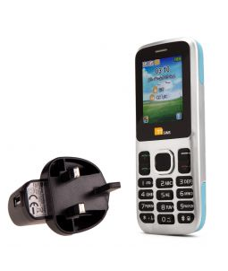TTsims TT130 Dual SIM Mobile Phone Blue with Mains Plug Charger