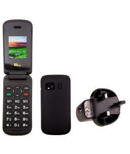 TTsims TT140 Black Mobile Phone With Mains Plug Charger
