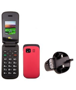 TTsims TT140 Red Mobile Phone With Mains Plug Charger