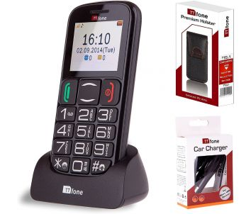 TTfone Mercury 2 TT200 Unlocked Mobile Phone with Dock, Carry Holster Case and Car Charger (Bundle)