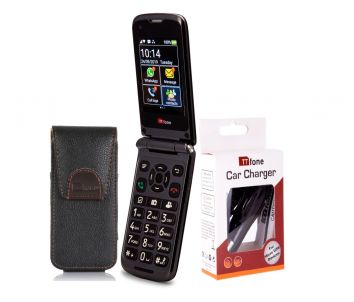 TTfone Titan TT950 Unlocked Mobile Phone with Dock, Carry Holster Case and Car Charger (Bundle)