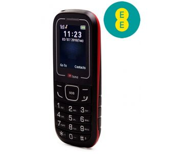 TTfone TT110 Mobile Phone with SOS Red EE Pay As You Go