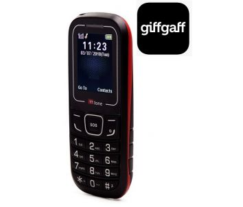TTfone TT110 Mobile Phone with SOS Red Giffgaff Pay As You Go
