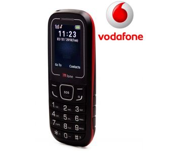 TTfone TT110 Mobile Phone with SOS Red Vodafone Pay As You Go
