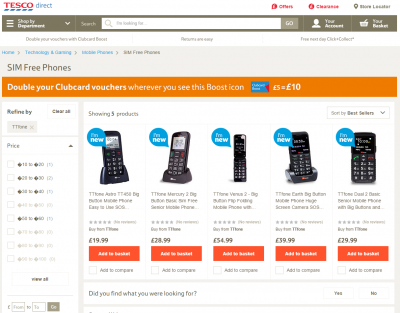 TTfone product now available on Tesco online stores