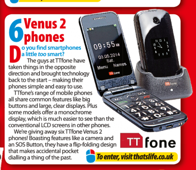That's Life magazine promotion for our TTfone Venus 2 model