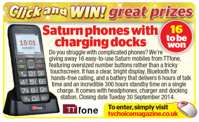 TV Choice Magazine feature our Saturn model